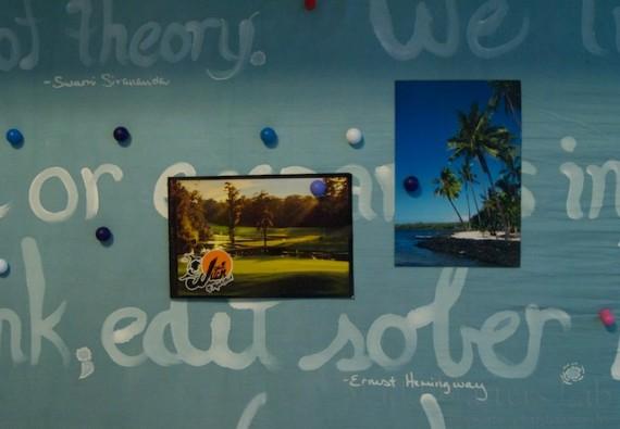 Mementos on magnetic office board